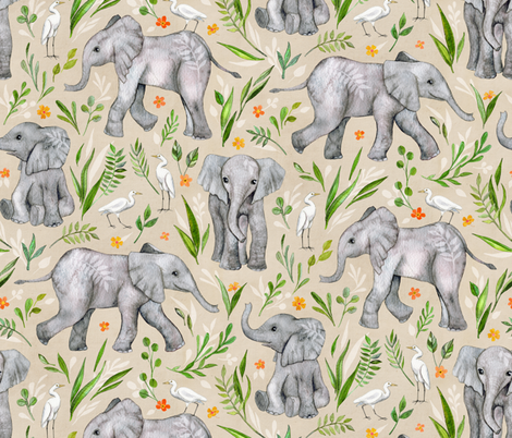 Baby Elephants and Egrets in Watercolor - neutral, large print fabric by micklyn on Spoonflower - custom fabric