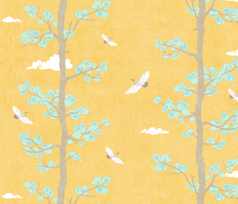 Pines & Cranes in Mint and Gold fabric by forest&sea on Spoonflower - custom fabric