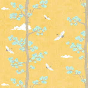 Pines & Cranes in Mint and Gold