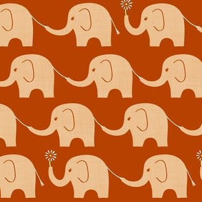 Elephant Parade in Burnt Orange