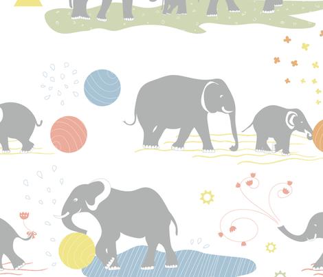 Happy elephants Jumbo wallpaper fabric by ullas_pattern on Spoonflower - custom fabric
