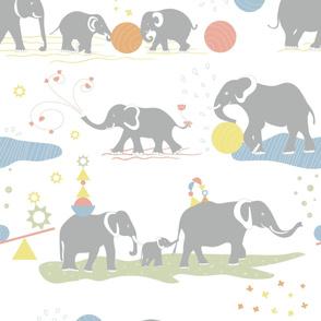 Playing elephants Jumbo wallpaper