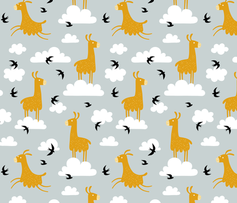 Llamas in the clouds with birds (jumbo) fabric by heleen_vd_thillart on Spoonflower - custom fabric
