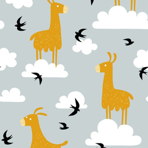 Llamas in the clouds with birds (jumbo)