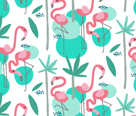 Palm_beach_flamingos fabric by sanna_kallio on Spoonflower - custom fabric