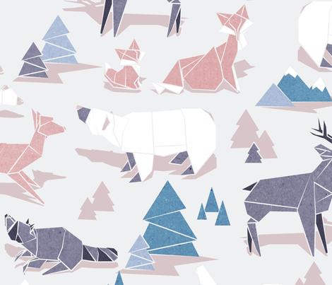 Origami woodland II // large scale fabric by selmacardoso on Spoonflower - custom fabric