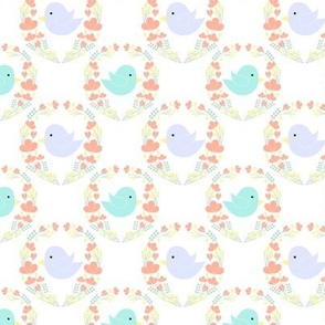 Cute birds in wreath for kids pastel colors