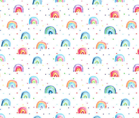 Rainbow baby dreams || watercolor pattern for nursery fabric by katerinaizotova on Spoonflower - custom fabric