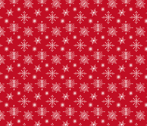 White snowflakes on holiday red  fabric by lolahstudio on Spoonflower - custom fabric