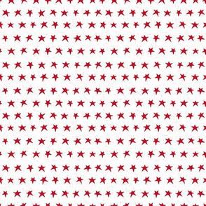 Little red stars on white