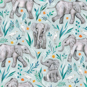 Baby Elephants and Egrets in Watercolor - eggshell blue, large print
