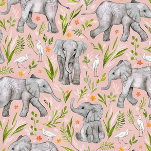 Baby Elephants and Egrets in watercolor - blush pink, large print