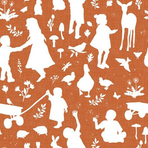 Kids at Play - Silhouette Kids Wallpaper - White, White Linen, Ginger
