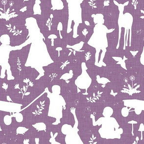 Kids at Play - Silhouette Kids Wallpaper - White, White Linen, Grape