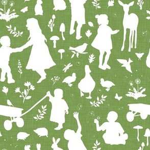 Kids at Play - Silhouette Kids Wallpaper - White, White Linen, Lime