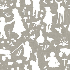 Kids at Play - Silhouette Kids Wallpaper - White, White Linen, Mushroom