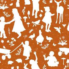 Kids at Play - Silhouette Kids Wallpaper -White, WhiteLinen, TerraCotta