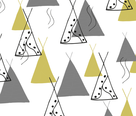 Abstract Tipi Grey Lime Yellow // Gender Neutral Nursery Baby fabric by maredesigns on Spoonflower - custom fabric