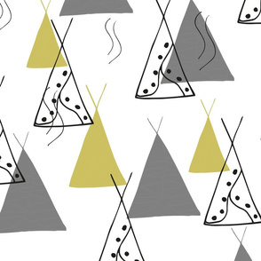 Abstract Tipi Grey Lime Yellow // Gender Neutral Nursery Baby
