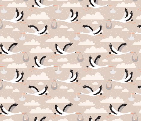 stork fabric by heleenvanbuul on Spoonflower - custom fabric