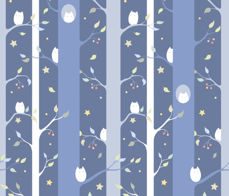 Owl forest (night version) fabric by elena_naylor on Spoonflower - custom fabric