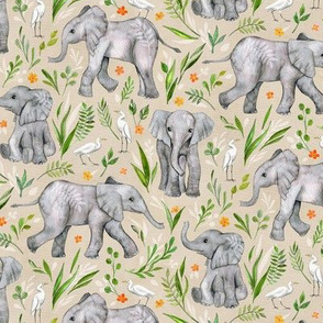 Baby Elephants and Egrets in Watercolor - neutral, small print