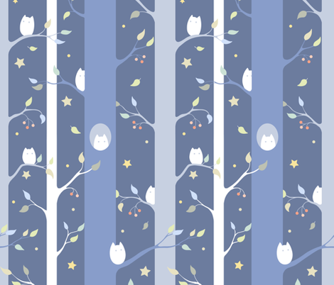 Owl forest (night) fabric by elena_naylor on Spoonflower - custom fabric
