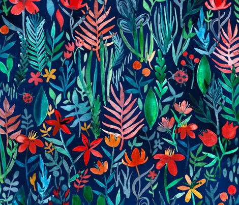 Tropical Ink watercolor garden - large print fabric by micklyn on Spoonflower - custom fabric