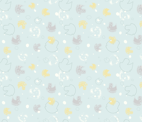 Horses in Gender Neutral Colors fabric by agnieszka_rycombel on Spoonflower - custom fabric