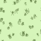 Fingerprint animals parents and kids green