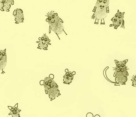 Fingerprint animals  parents and kids yellow fabric by zandloopster on Spoonflower - custom fabric