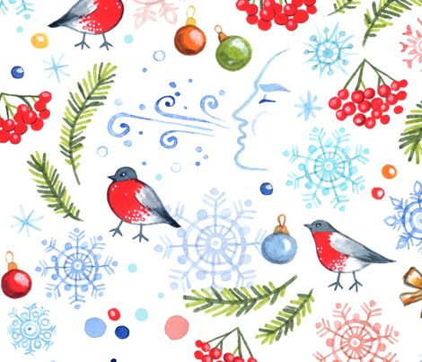 Frosty Christmas fabric by ptitsa-tsatsa on Spoonflower - custom fabric
