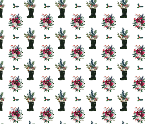Rain Boot Winter Bouquet  fabric by theartwerks on Spoonflower - custom fabric