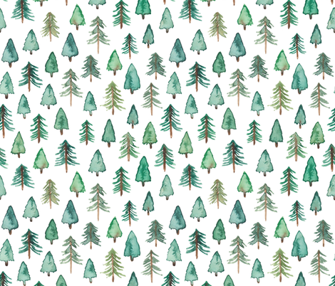 (Bigger) Evergreen Christmas Trees or Forest fabric by elena_o'neill_illustration_ on Spoonflower - custom fabric