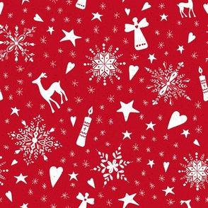 Merry Christmas holiday snowflakes, hearts, angels, deers on red