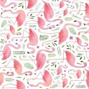 Watercolour Flamingos (clockwise)