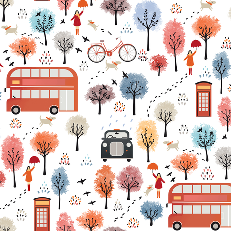 London transport (with a female) fabric by elena_naylor on Spoonflower - custom fabric