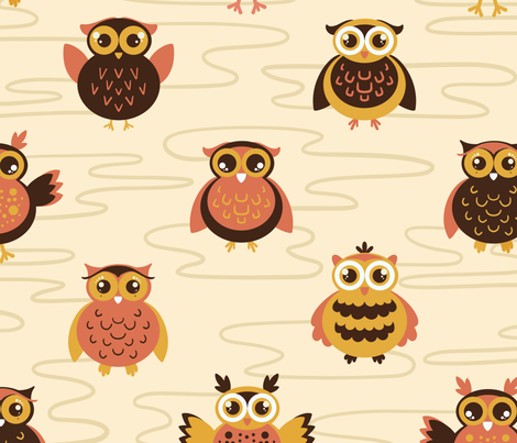 Baby owls fabric by new_branch_studio on Spoonflower - custom fabric