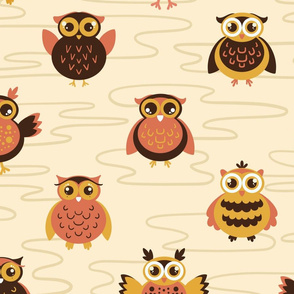 Baby owls - large scale yellow