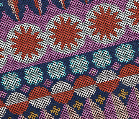 Fair Isle Castle* (Navy) ||  || faux knit knitting geometric holiday christmas pixel pixels pixelated stars snowflakes diamonds