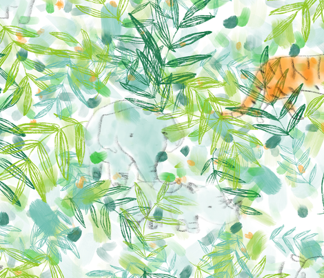 Baby Jungle - © Lucinda Wei fabric by lucindawei on Spoonflower - custom fabric