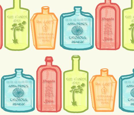 Patent Medicine Bottle Jumbo Chinoiserie fabric by lochnestfarm on Spoonflower - custom fabric