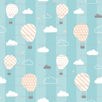 Sweet dreams baby's room wallpaper on blue stripes