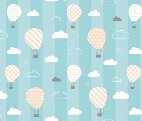 Sweet dreams baby's room wallpaper on blue stripes fabric by danadu on Spoonflower - custom fabric