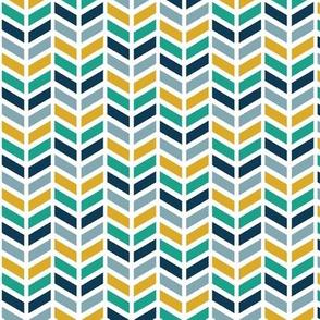 Chevron Herringbone - Sailor Blue, Arcadia Green, Mustard