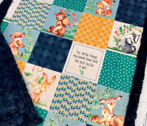 Mama + Baby Patchwork Cheater Quilt ROTATED- Baby Boy Blanket Design- Sailor Blue, Arcadia Green, Mustard