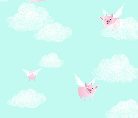 Pigs Do Fly fabric by lucy_barracuda on Spoonflower - custom fabric