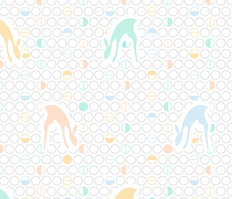 Fawns and Geometric Circles fabric by pinkdeer on Spoonflower - custom fabric