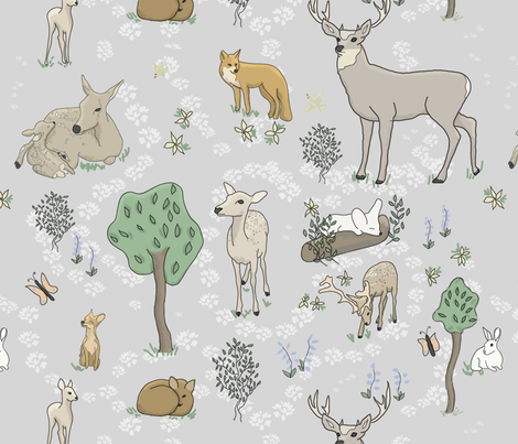 Animals in the forest Large Print fabric by stasiajahadi on Spoonflower - custom fabric