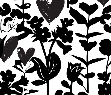 Flowers and hearts 18_0396 fabric by daria_rosen on Spoonflower - custom fabric